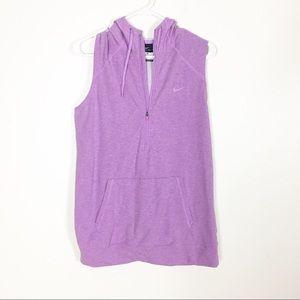 Nike Light Purple Half Zip Hooded Pullover Vest